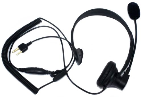 Secuda Over-Head Headset With Boom Mic Ptt/Vox For Midland/Alan Gxt/Lxt 2 Two Way Radio 2-Pin