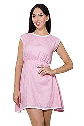 Wintage Women Boat Neck Sleeveless Pink edMini Skater Dress