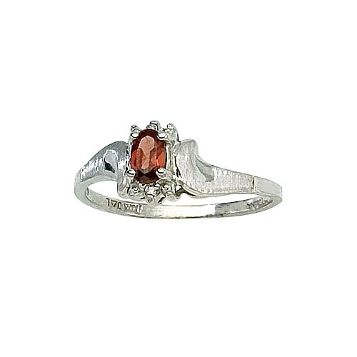 14K White Gold 0.01 ct. Diamond and 5 x 3 MM Oval Shaped Garnet Ring