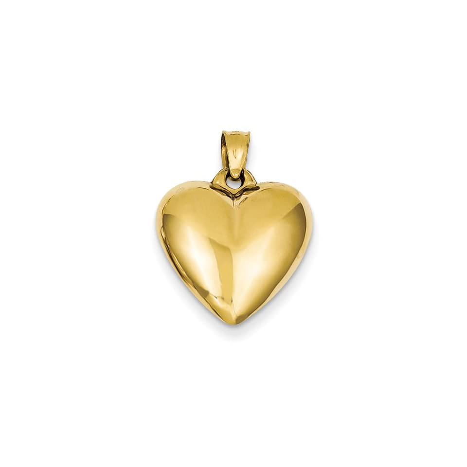 14k Yellow Gold 3 D Puffed Polished Heart Charm Pendant 24mmx16mm