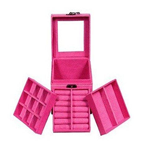 Hot Pink three-layer lint jewelry box organizer
