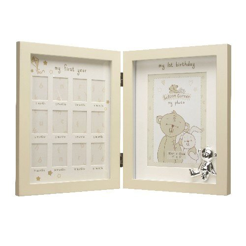 New Baby's 1st Year Photo Frame Silver Teddy