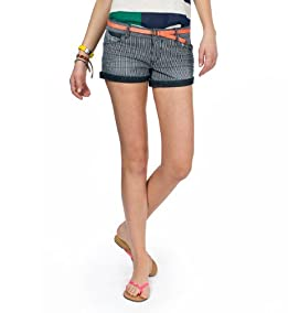Kendra Railroad Striped Shorts