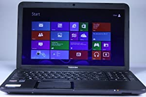 Toshiba Satellite C855D-S5303 Laptop Computer / 15.6-inch HD Display Screen / AMD Dual-Core E-300 1.3 GHz Processor / 2GB DDR3 RAM Memory / 320GB Hard Drive / Double-layer DVD±RW / 6-cell Battery / Webcam / Windows 8 / Satin Black