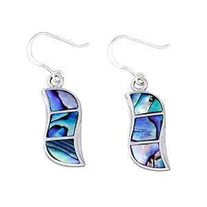 Ladies' Abalone Drop Earrings, Silver, Model A66/NKE41003