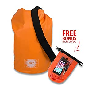Orange Dry Bag, Waterproof Bag Guaranteed, (10l) with Shoulder Strap & Free Bonus Smart Phone Dry Bag By Sky Solutions. Dry Sack Is Marine Grade Thermo Welded PVC Tarpaulin