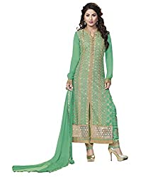 Sheknows Heena Khan Green Pure GeorgetteDrees Material