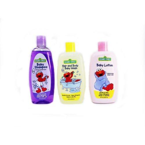 NEW Sesame Street 3 Piece Bath Set (Baby Shampoo I Hair & Body Baby Wash I Baby Lotion)