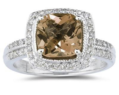 2.50ct Cushion Cut Smokey Quartz & Diamond Ring in 14K White Gold