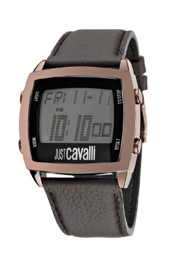 Just Cavalli Unisex Watch R7251225025 In Collection Screen with Digital and Brown Strap