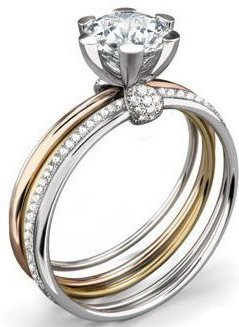 HOLIDAY-GIFT-Mothers-Day-Gifts-Gold-Plated-Stackable-1-Ct-Solitaire-Ring-with-5-Individual-Rings-Held-Together-By-Solitaire-2-Rhodium-Plated-1-Yellow-Gold-Plated-1-Rose-Gold-Plated-and-1-Eternity-Ring-Style-Cz-Diamonds-Around-6-Prong-Setting-