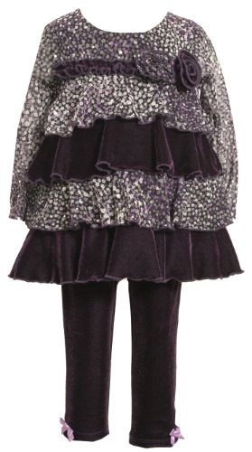 Bonnie Baby-girls Infant Sparkle Mesh Legging Set, Purple, 12 Months