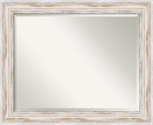 Wall Mirror Large, Alexandria White Wash Wood: Outer Size 33 x 27