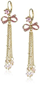 "Betsey Johnson ""Iconic Pinkalicious"" Bow Multi-Chain Linear Drop Earrings"