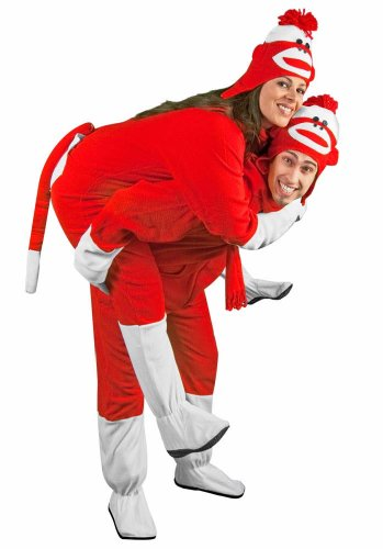 Sock Monkey Costume Footies for Adults Red Fleece with Butt Flap, 5