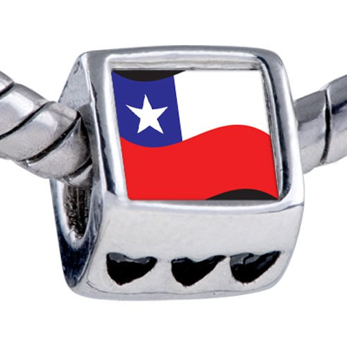 Pugster Silver Plated Photo Bead Chile Flag Beads Fits Pandora Bracelet