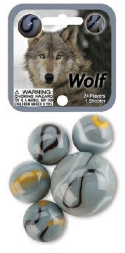 Wolf Game Net Set 25 Piece Glass Mega Marbles Toy - 1