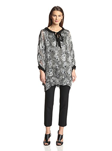 Amelia Toro Printed Silk Tunic Dress - Black