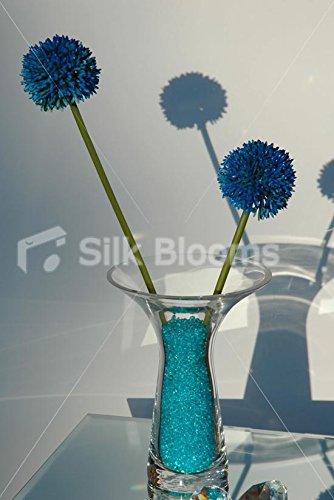 Vase Table Arrangement avec cristaux Bleu électrique & Allium