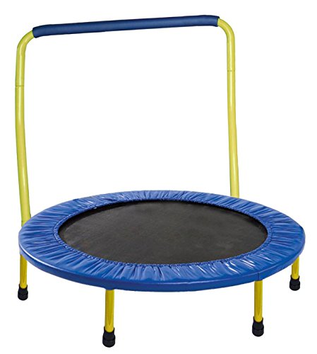 """Yellow Portable And Foldable 36"""" Dia. Durable Construction Safe Kids Trampoline With Padded Frame Cover And Handle"""
