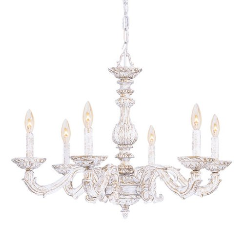 B003E914RC 5126-AW Sutton 6LT Chandelier, Antique White Finish