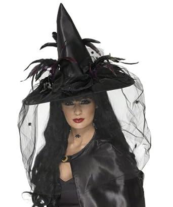 Hexenhut Hut Hexe für Damen schwarz luxuriös Halloweenkostüm Damenhut Federn Halloween Halloweenhut