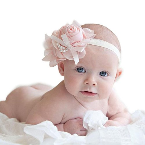 Towallmark 1Pc Lovely Rhinestone Unusual Angel Girls Baby Pearl Flowers Hairband Headbands (Pink)