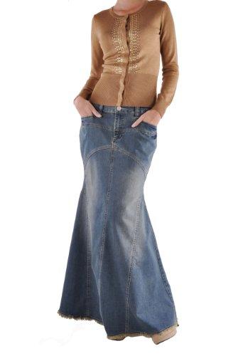 Style J Vintage Vogue Long Denim Skirt-Blue-28(8) Denim Maxi Skirt