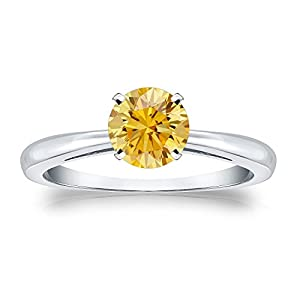 3/4 cttw Round-cut Yellow Diamond Solitaire Ring in Platinum, Size 4