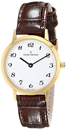 Claude Bernard Women's 20059 37J BB Classic Ladies - Slim Line Analog Display Swiss Quartz Brown Watch