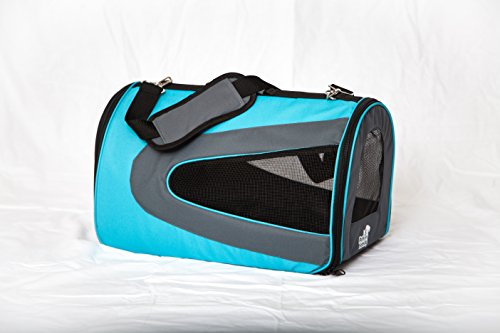 Pet carrier, soft sided, airline approved, large carrier, for small pets, holds up to 15 pounds, travel, crate, kennel, bag, puppy, small dog, cat, blue or pink. FREE petcare e-book with purchase. 18″x10″x10.5″.