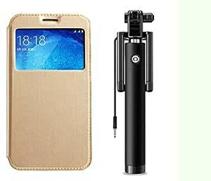 Novo Style Samsung GalaxyA5 Window View Premium Folio Flip Cover Case W Stand View+ Wired Selfie Stick No Battery Charging Premium Sturdy Design Best Pocket SizedSelfie Stick