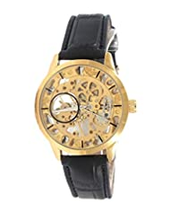 GT Gala Time Skeleton Mechanical Hand Winding Black Leather Strap Gold Case Wrist Watch For Men GT-MECH-001