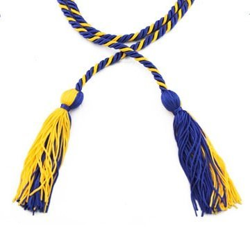 Two-color Braided Honor Graduation Cords (Royal Blue&Gold-blocked tassel) (Graduation Cords compare prices)