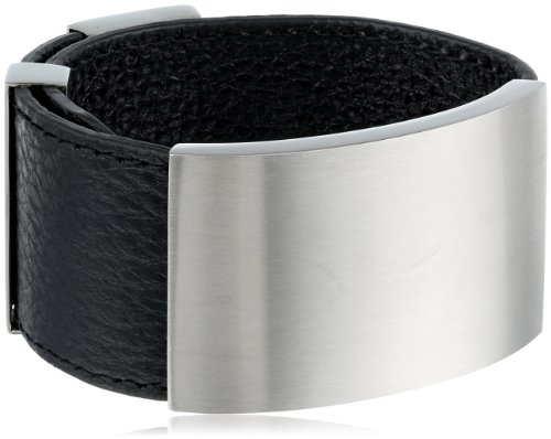 Women's Adjustable Black Leather Cuff with Stainless Steel Center