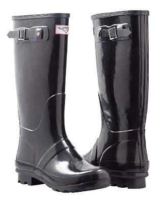 Women's Stylish Rubber Rain Boots - Hunting styles *Black* (5)