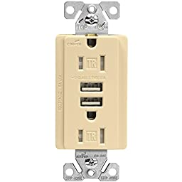 Eaton TR7745V-BOX Combination USB Charger with Tamper Resistant Receptacle and Box, 15-Amp, Ivory Finish