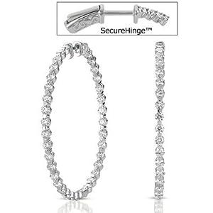 14k White Gold 5.74 Dwt Diamond 2 Securehinge Hoop Earrings - JewelryWeb
