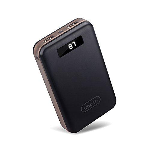 iMuto 超大容量 20000mAh モバイルバッテリー 急速充電 2USB出力ポート スマートデジタルスクリーン LED ライト搭載 iPhone 6s / 6s Plus / 6 / 6 Plus / 5s / 5c / 5 / iPad / Android / Xperia / Galaxy / 各種スマホ / タブレット/ ゲーム機 / Wi-Fiルータ 等対応 カラー:ブラック