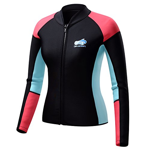 Lemorecn Women's 1.5mm Wetsuits Jacket Long Sleeve Neoprene Wetsuits Top (4147black,XL) (Wet Suit Xl compare prices)