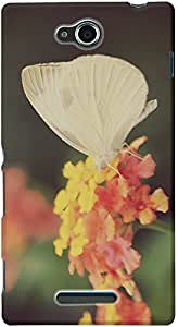 DailyObjects Captivating Butterfly on Flower Case For Sony Xperia C