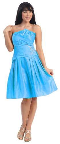 Bridesmaid Elegant Junior Prom Short Dress #618 (8, Turquoise)
