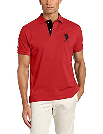 U.S. Polo Assn. Men's Slim Fit Solid Polo with Contrast Striped Underside Of Collar, Engine Red, Small