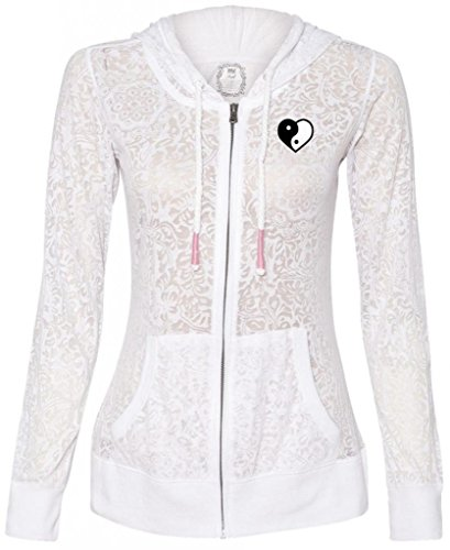 Ladies Stefani Yin Yang Heart Full-Zip Hoodie, Medium White (Pocket Print)