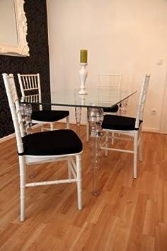Designer Acryl Esszimmer Set Weiß/Schwarz - Ghost Chair Table - Polycarbonat Möbel - 1 Tisch + 4 Stuhle - Casa Padrino Designer Möbel