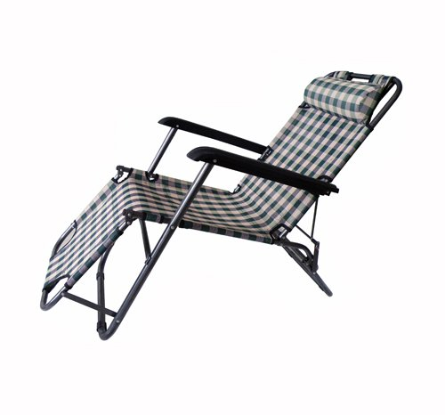 Steel High Back Beach Chair Two Position Adjustable With Neck Pillow 200Lbs Green front-870513