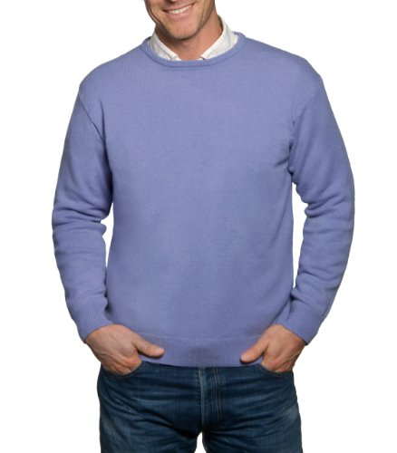 Mens Lambswool Crew Neck Jumper Lilac Extra Small