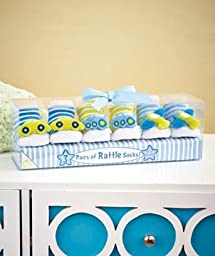 3-pair Infant Rattle Socks in a Box- Design Transportation