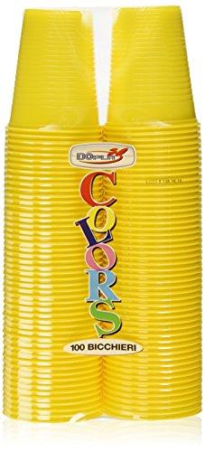 Dopla Colors, Bicchieri in plastica, colore Giallo, 100 pezzi