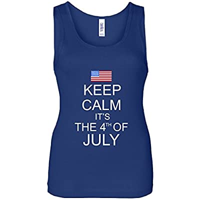 Keep Calm It's The 4th of July USA Flag Women's Tank Top
